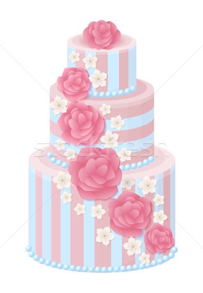 Esküvői torta díszített rózsák sakura virág pasztell Stock fotó © robuart
