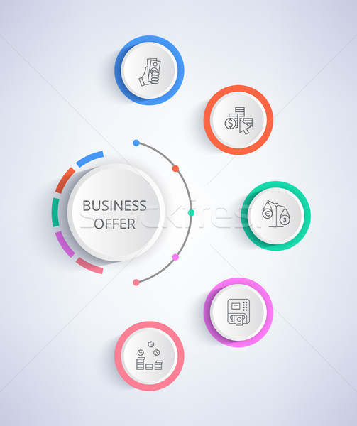 Stock photo: Business Offer Set of Icons Growing Income, Credit