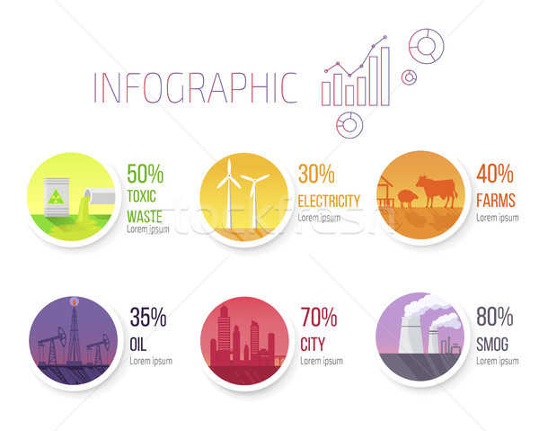 Pollution Statistic and Round Images Infographic Stock photo © robuart
