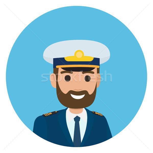Bearded Captain in Uniform Portrait Illustration Stock photo © robuart