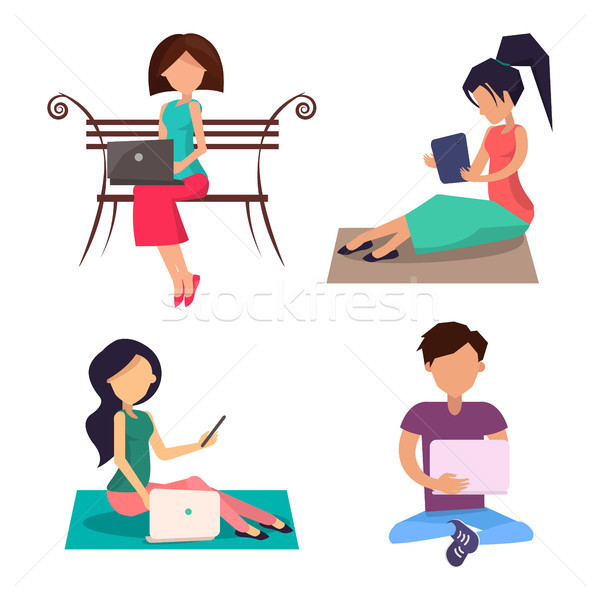 Modern People with Devices Sit on Wooden Bench Set Stock photo © robuart