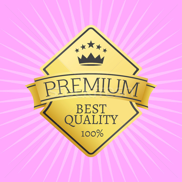 Gold Emblem Topped by Crown Premium Quality Icon Stock photo © robuart