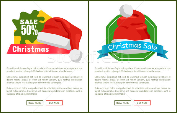 Pair of Half Price Christmas Sale Promo Cards Stock photo © robuart
