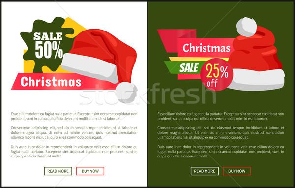 Christmas Sale Santa Hats on Promo Labels Vector Stock photo © robuart