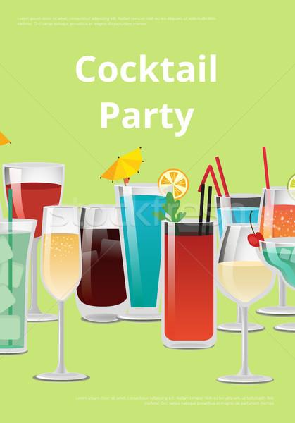 Cocktail annonce affiche publicité boissons belle Photo stock © robuart