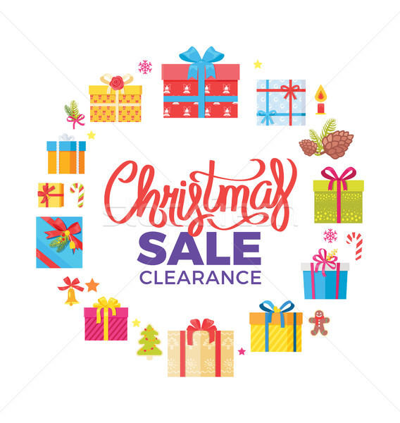 Christmas Sale Clearance Poster Advert Frame Icons Stock photo © robuart