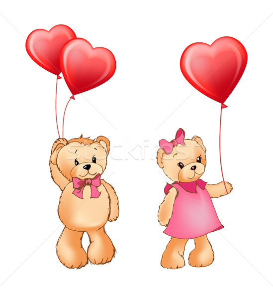 Teddy Bear Couple and Balloons Vector Illustration Stock photo © robuart