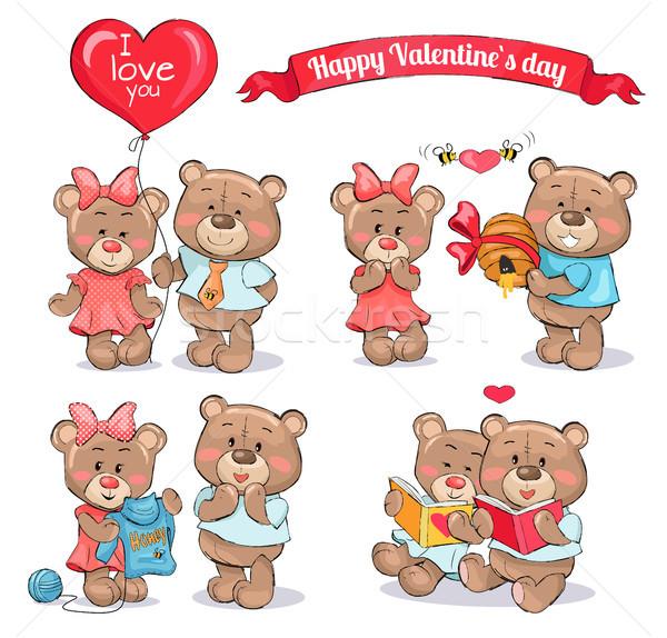 幸せ バレンタインデー セット テディベア カップル かわいい ストックフォト © robuart