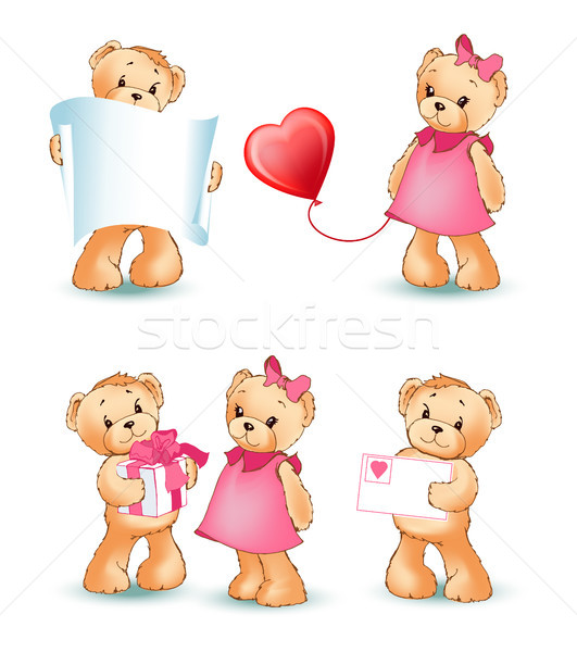 Teddy Bears Collection Love Vector Illustration Stock photo © robuart