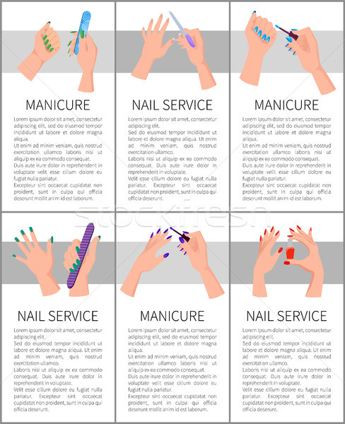 Set of Manicure and Nail Service Colorful Cards Stock photo © robuart