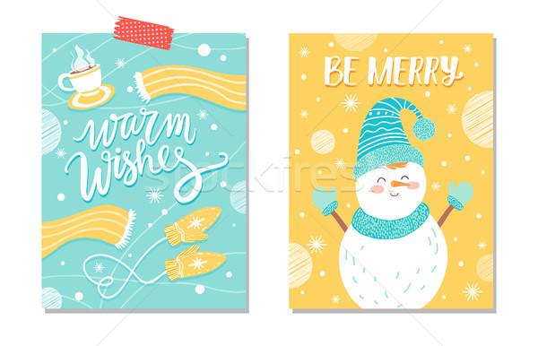 Warm wensen vrolijk briefkaart glimlachend sneeuwpop Stockfoto © robuart