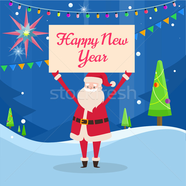 Happy New Year Banner in Santas Hand in Forest Stock photo © robuart