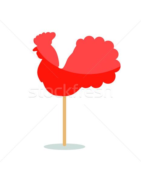 Vermelho pavão pirulito ícone vara isolado Foto stock © robuart