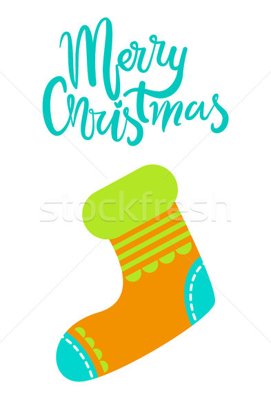 Merry Christmas Greeting Card with Knitted Sock Stock photo © robuart