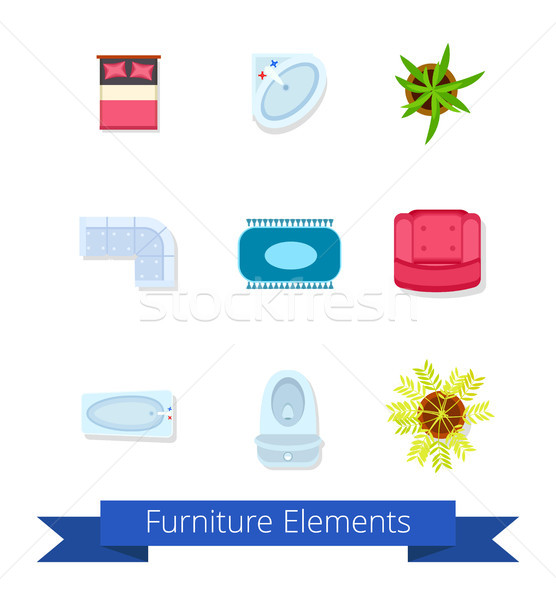 Furniture Elements Icons on Vector Illustration Stock photo © robuart