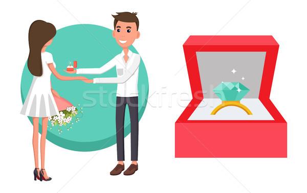 Proposta fidanzato poster uomo anello Foto d'archivio © robuart