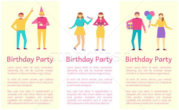 Festa de aniversário coleção pessoas bom tempo gozo Foto stock © robuart