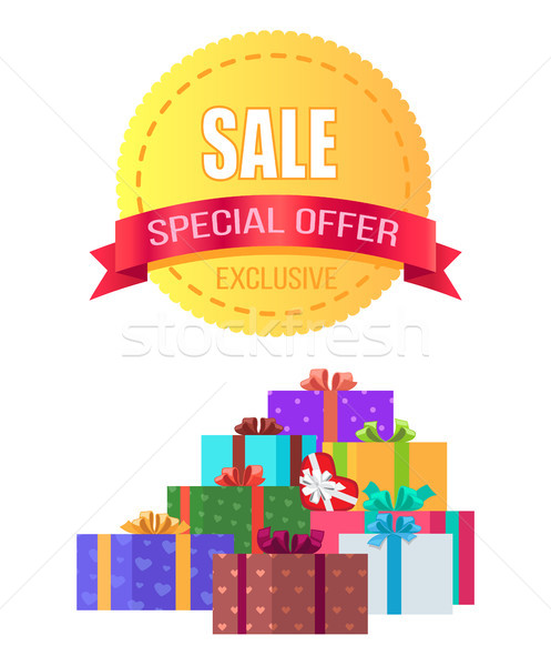 Exclusive Sale Special Offer Round Emblem Gift Box Stock photo © robuart