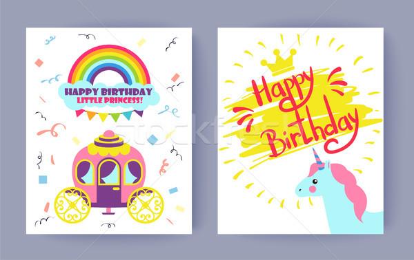 Happy Birthday Postcards Set Vector Illustration Stock photo © robuart