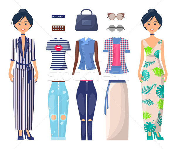 Stylish Girls Set Summer Mode Collection Clothes Stock photo © robuart