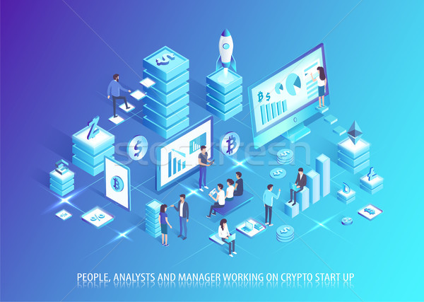 Analysts and Managers Work on Crypto Start Up Stock photo © robuart