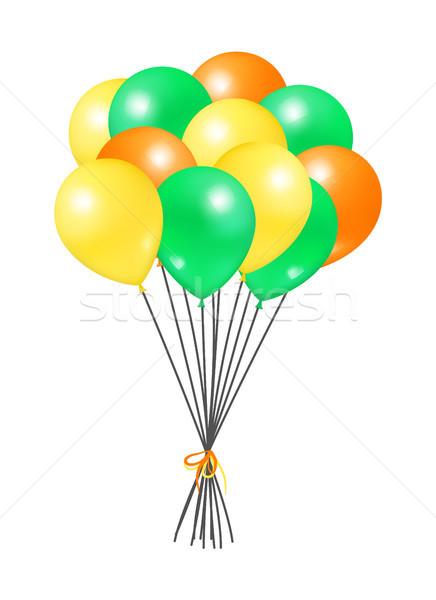 Citromsárga zöld köteg hélium szín léggömb Stock fotó © robuart