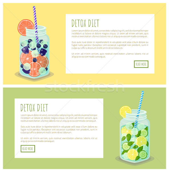 Stock photo: Detox Diet Beverages Web Set Vector Illustration