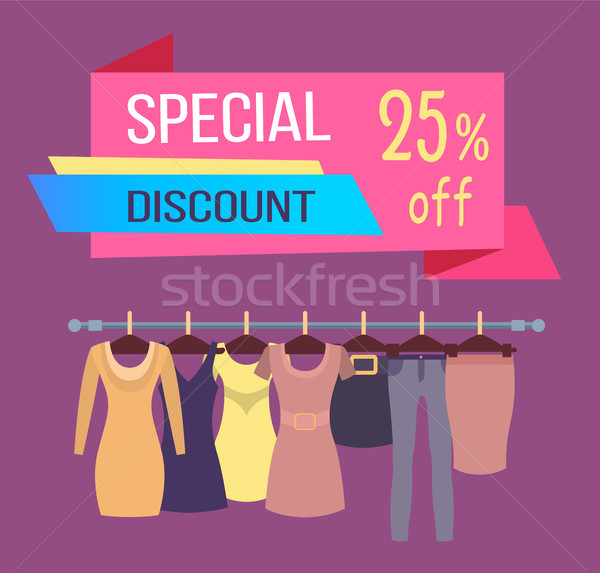 Stock photo: Special Discount Tag 25 Dresses Skirts Trousers
