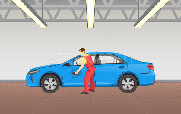 Car Polishing in Garage Job Vector Illustration Stock photo © robuart