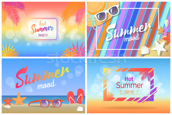 Hot Summer Party Bright Promotional Posters Set Stock photo © robuart