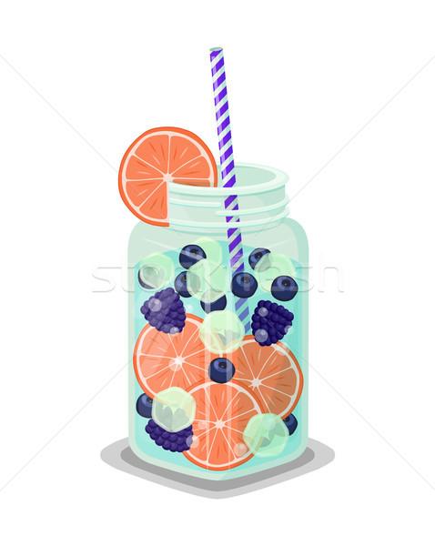 Bögre frissítő ital friss grapefruit narancs Stock fotó © robuart