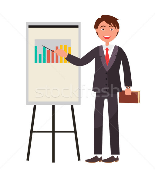 Smiling Man Showing on Charts by Pointer Textbook Stock photo © robuart