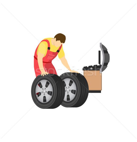 Wheel and Tyre Fitting Color Vector Illustration Stock photo © robuart
