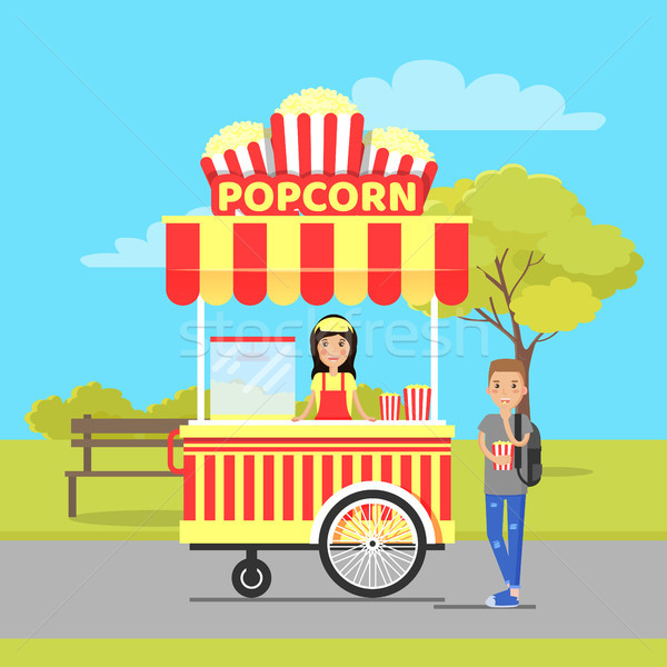 Popcorn Stall and Man in Park Vector Illustration Stock photo © robuart