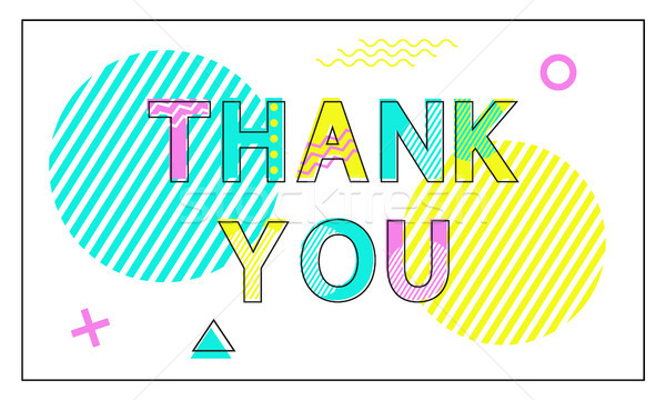 Thank You Poster Geometric Figures in Linear Style Stock photo © robuart