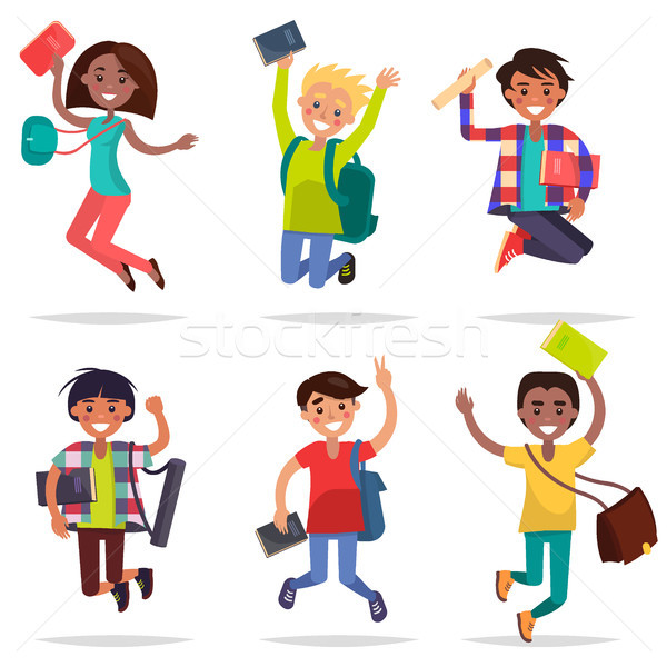 Excited Pupils Girls and Boys Jumping Flat Design Stock photo © robuart