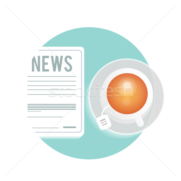 Newspaper with a cup of tea, coffee on a table Stock photo © robuart