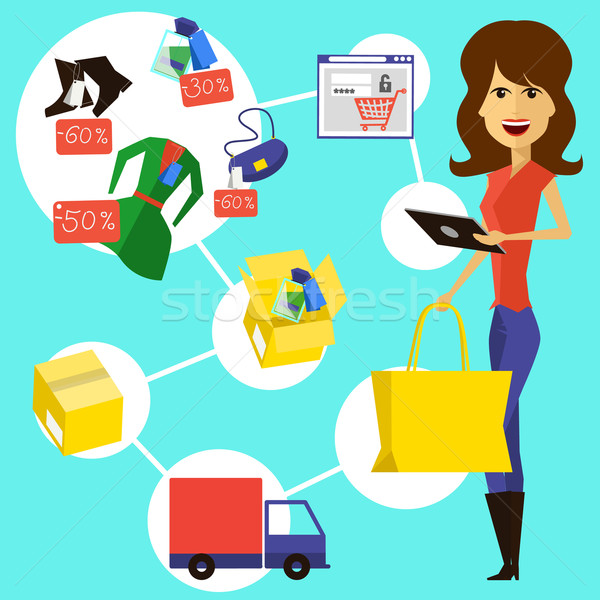 Happy woman with a bag and phone in hands Stock photo © robuart