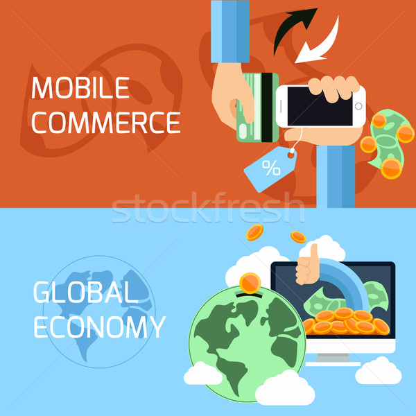 Concept for mobile commerce and global economy Stock photo © robuart