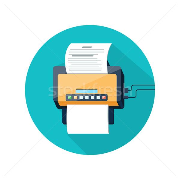 Fax icône papier page design longtemps Photo stock © robuart
