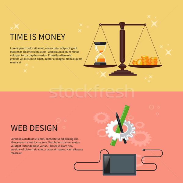 Tijd is geld web design ontwerper tools software ontwerp Stockfoto © robuart