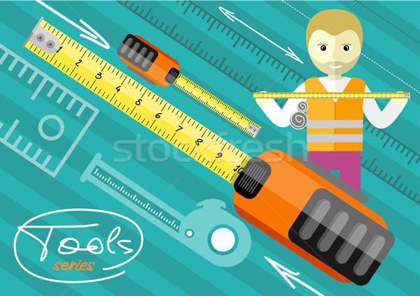 Mutlu erkek işçi cetvel rulet Stok fotoğraf © robuart