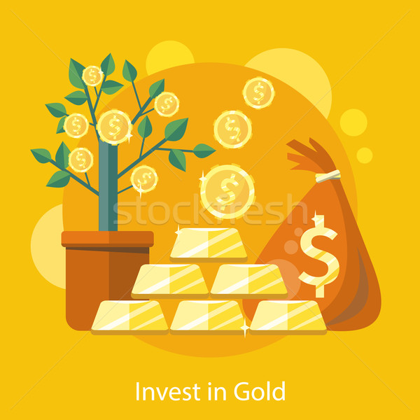 Dollar Tree in Pot Bag behind of Coins and Bullion Stock photo © robuart