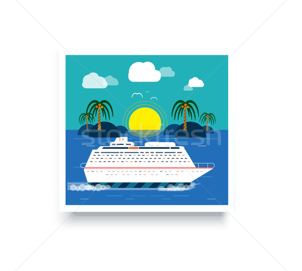 Navio de cruzeiro água turismo ilha azul ícones Foto stock © robuart