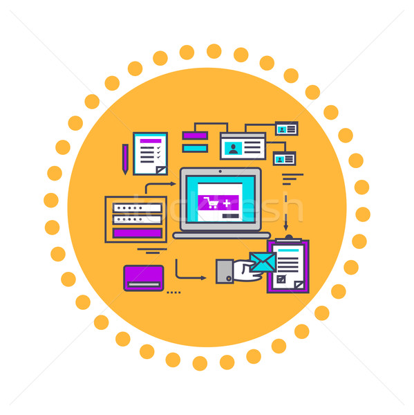 Icon Flat Style Design Secure Payment Stock photo © robuart