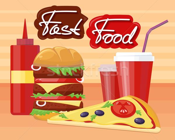 Fast food pizza hamburger ontwerp fastfood restaurant hamburger Stockfoto © robuart