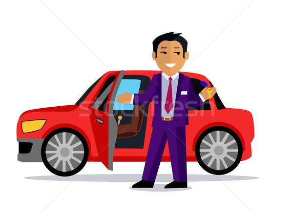 иллюстрация человека Новый автомобиль автомобиль продажи продавать Сток-фото © robuart