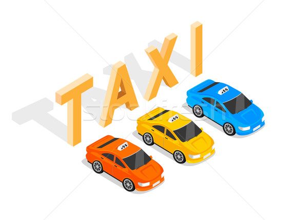 Flat 3d Isometric Car Taxi Stock photo © robuart