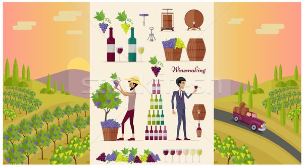 Borkészítés terv ikon gyűjtemény szőlő bor ital Stock fotó © robuart