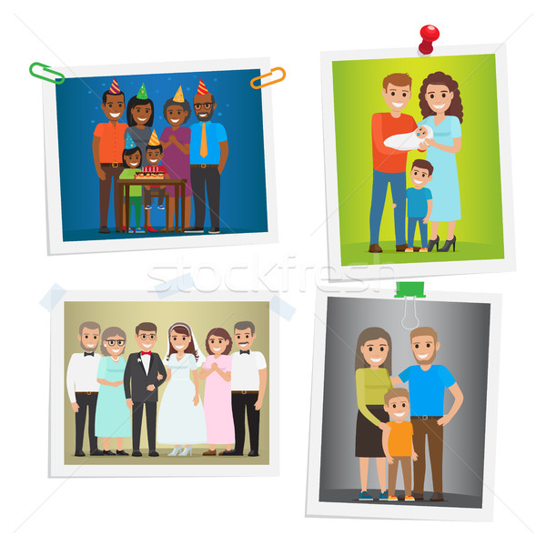 Family Special Day Photos Inoculated on White Stock photo © robuart